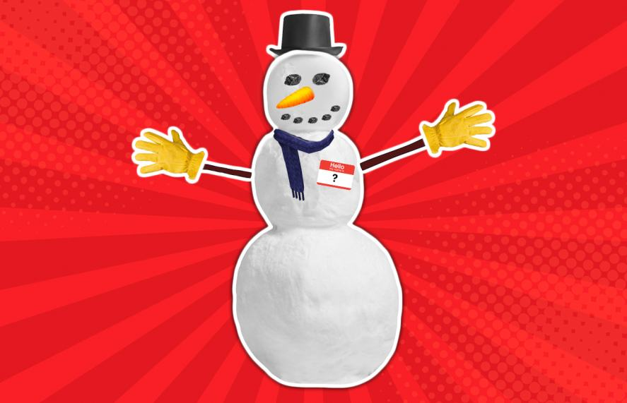 A snowman wearing a name badge