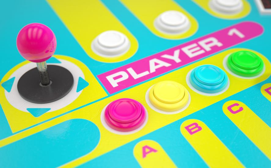 An colourful arcade joystick and buttons