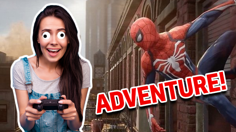 A woman playing Spider-Man