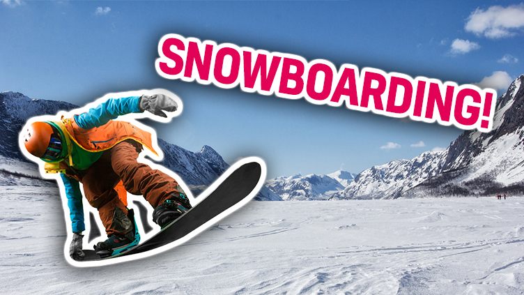 A person snowboards on a massive mountain