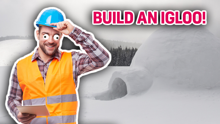 A construction worker looks pleased with his igloo