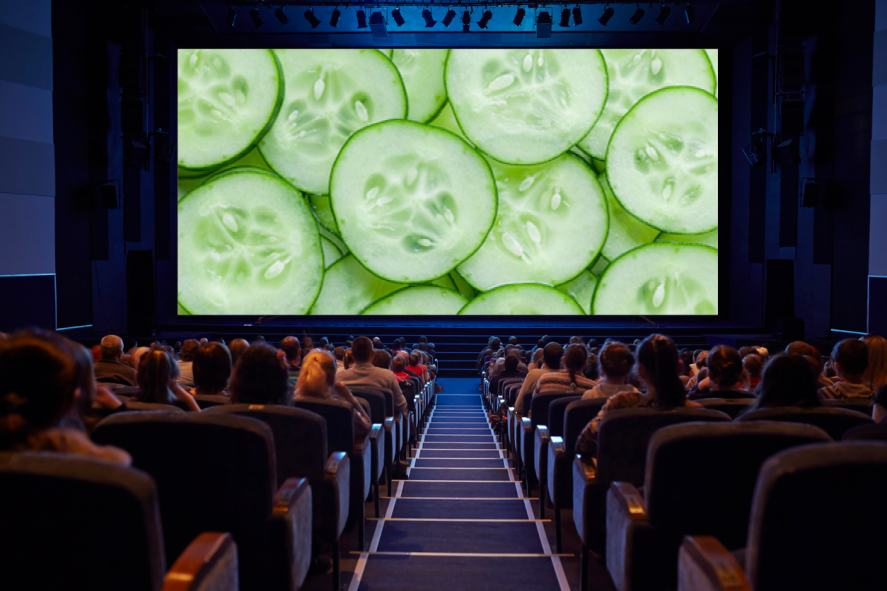 A cinema full of people watching slices of cucumber