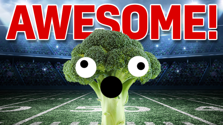 Awesome broccoli celebrates your win in a giant football stadium