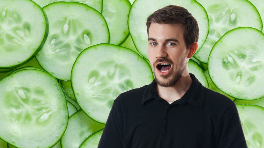 A man burping after eating a lot of cucumbers