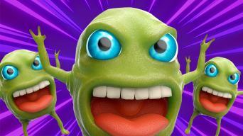Funny monster jokes: three green monsters