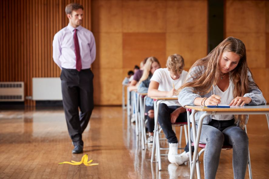 A teacher about to slip on a banana peel