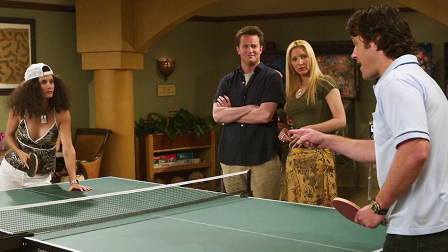 The Friends cast play table tennis