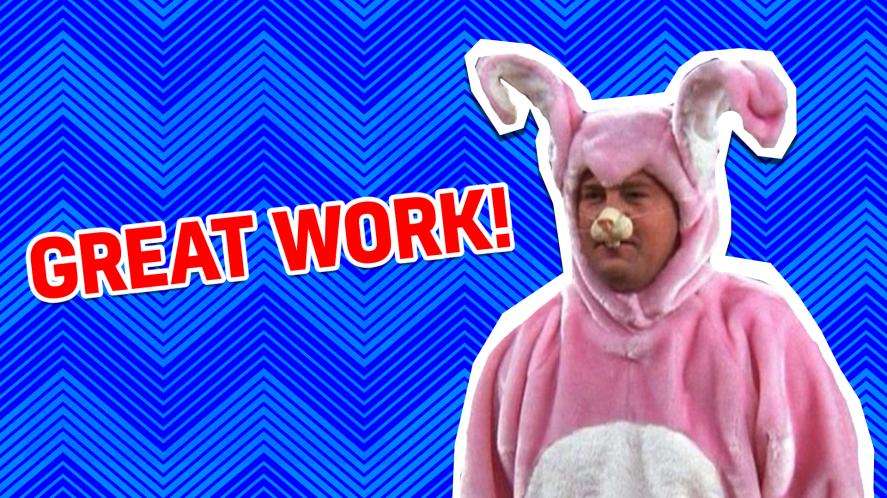 Chandler wears a bunny costume