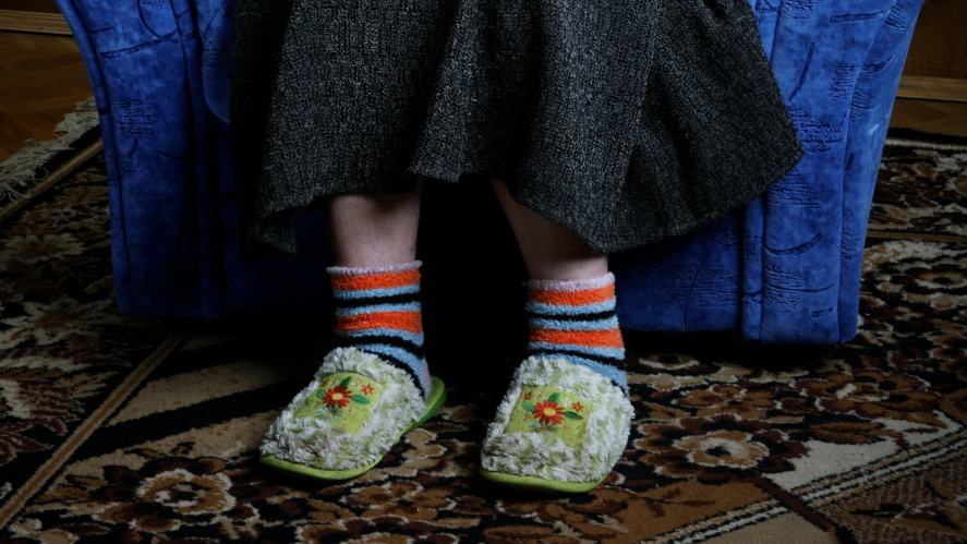 A pair of granny slippers