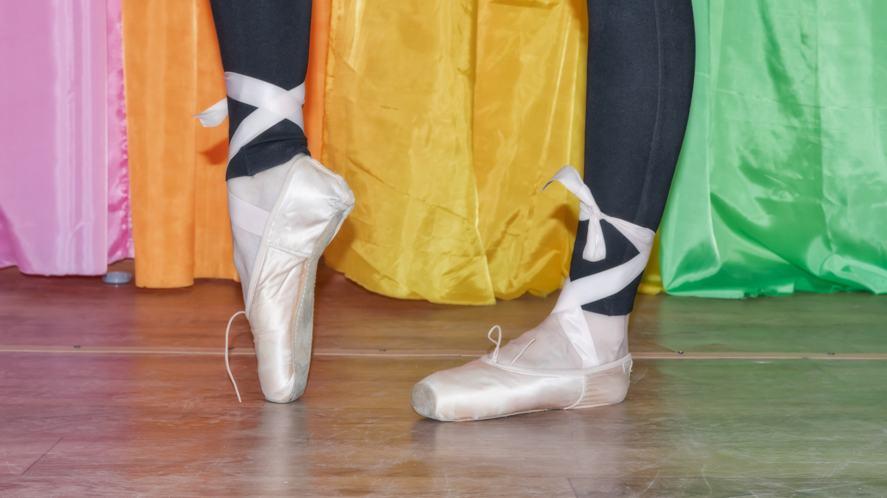 A ballet dancer practicing