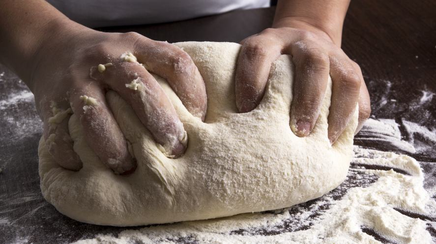 Making dough at a bakery