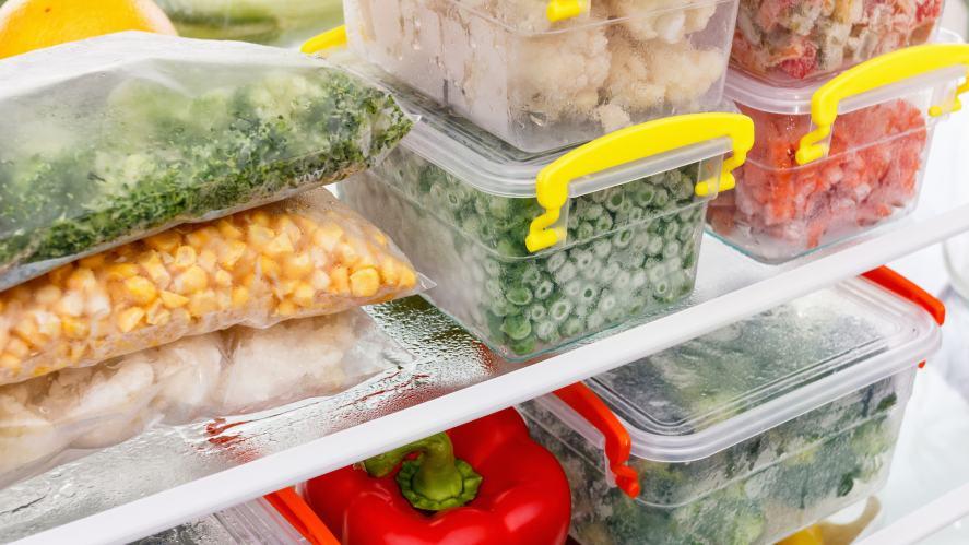 A freezer full of food