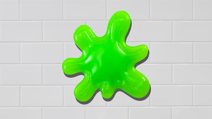A blob of slime on a kitchen wall
