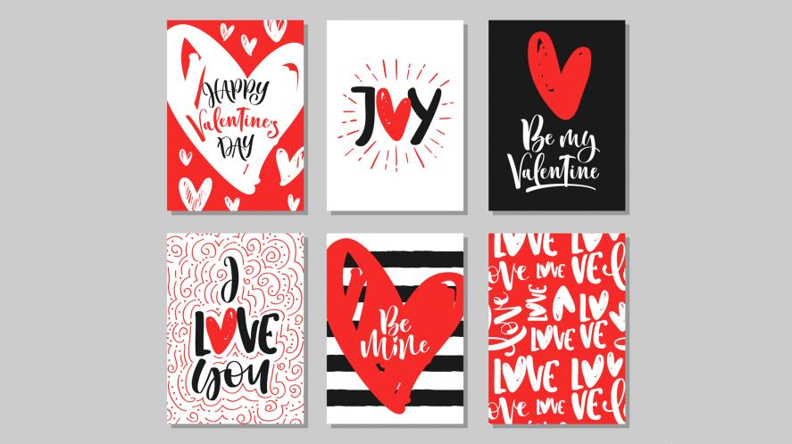 A selection of Valentine's Day cards