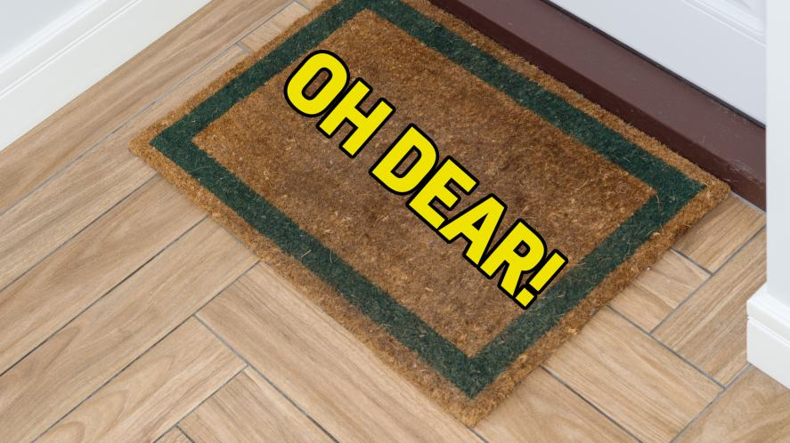 A doormat with no Valentine's Day cards
