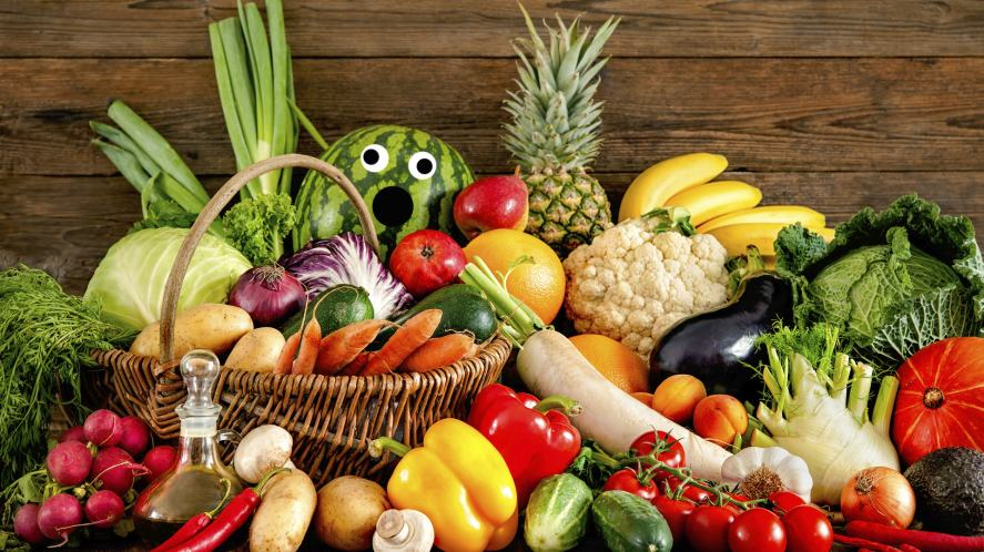 Vegetables and a frightened melon