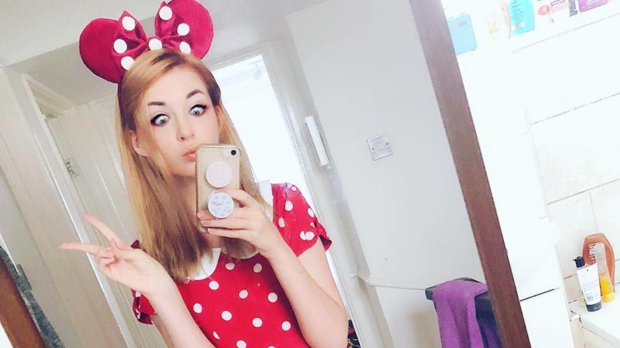 Connie Glynn taking a selfie dressed as Minnie Mouse
