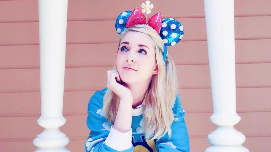 Connie Glynn wearing polka dot mouse ears