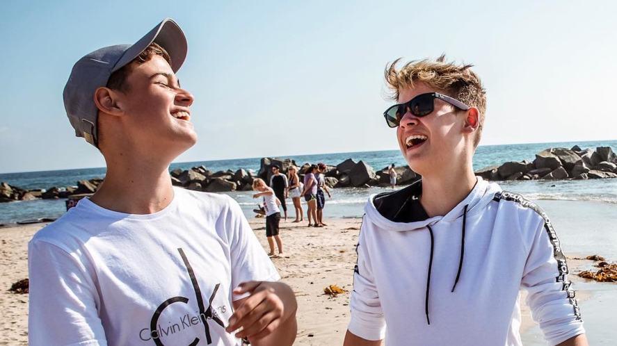 Max and Harvey at the beach