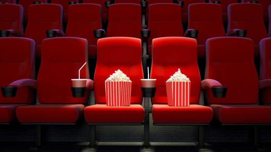Popcorn, drinks and cinema seats