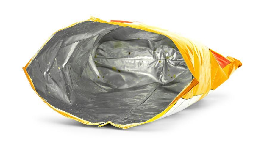 An empty packet of crisps