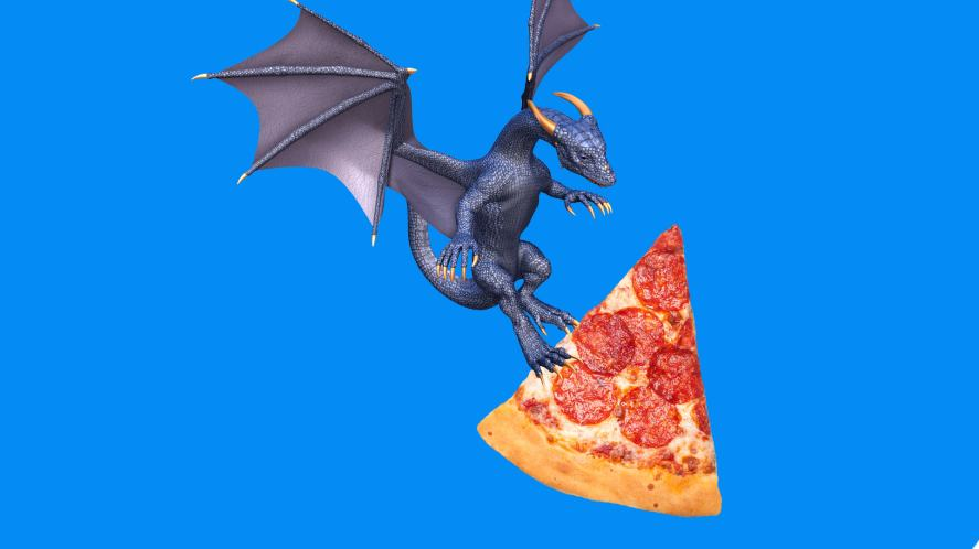 A dragon carrying a slice of pepperoni pizza