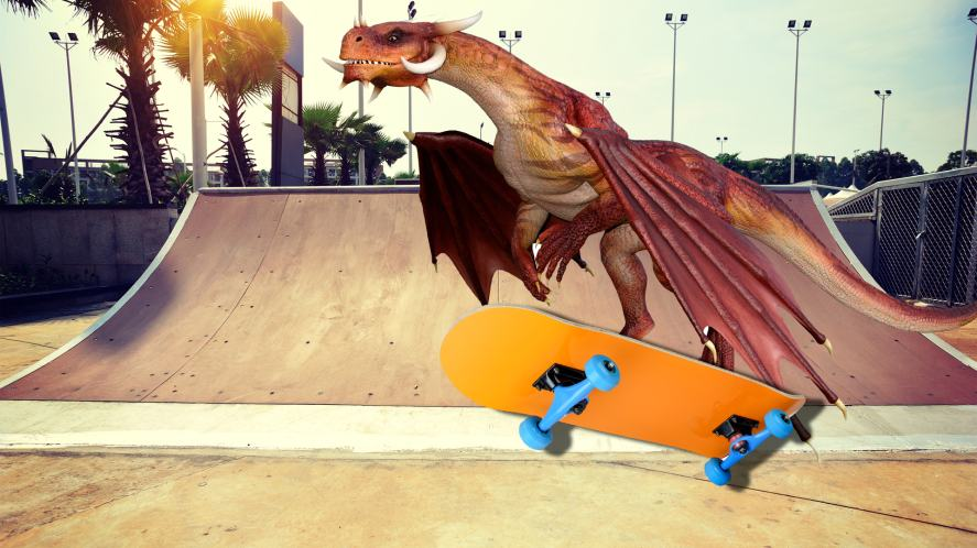 A dragon pulling off a trick on a skateboard ramp