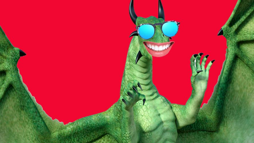 A smiling dragon wearing sunglasses