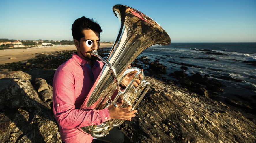 A man playing tuba