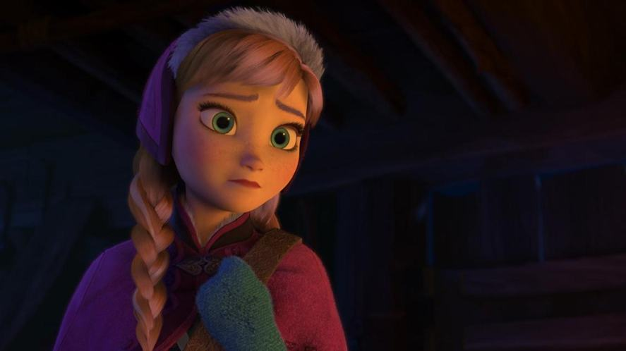 Princess Anna has a streak of blonde hair
