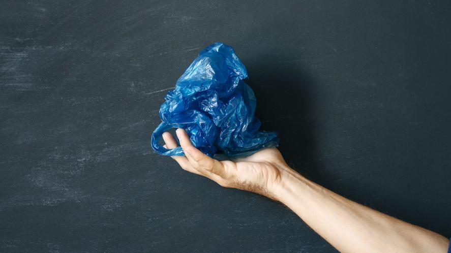 A crumpled up plastic bag