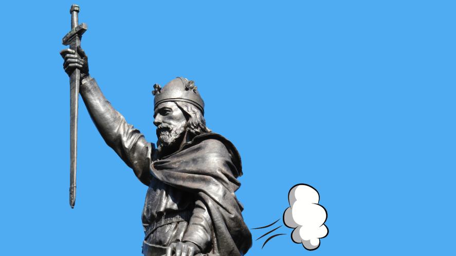 King Alfred farting in the air