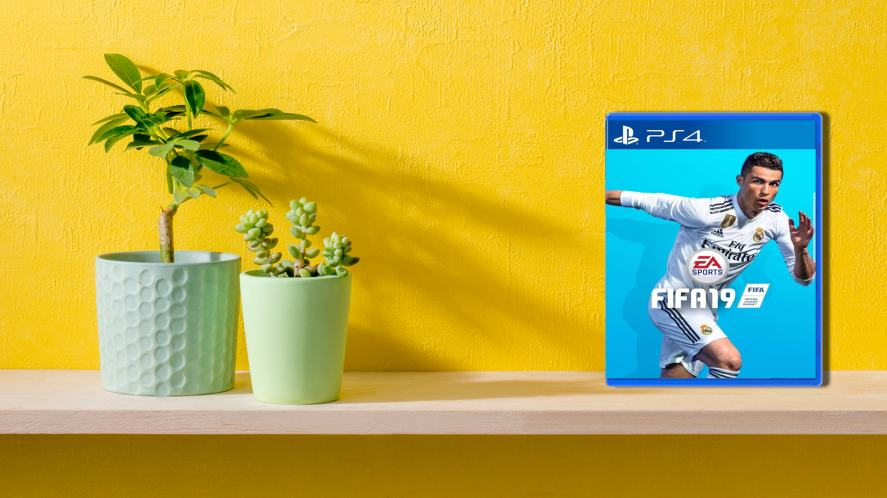 A shelf with plants and a copy of FIFA 19