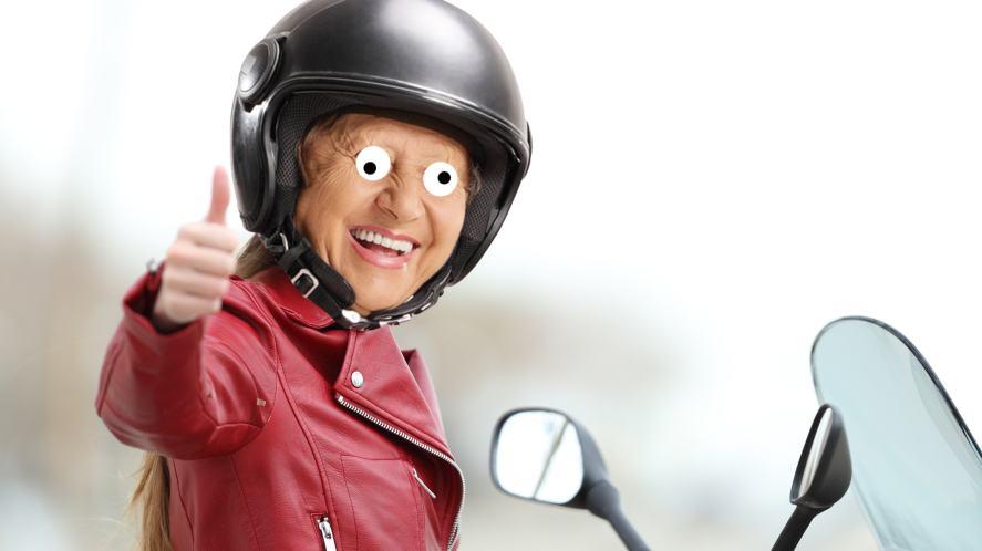 A gran on a motorbike