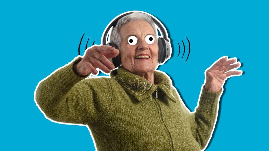 A gran listening to loud music on headphones