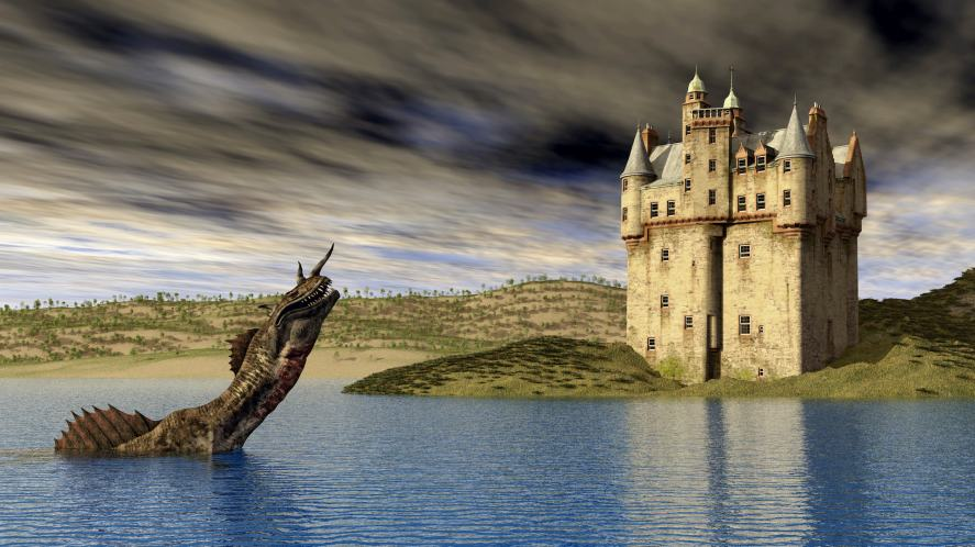 The Loch Ness Monster and a Scottish castle