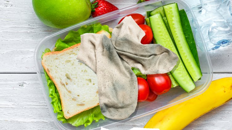A pair of smelly socks in healthy packed lunch