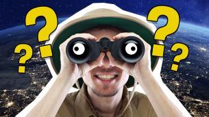 An explorer using binoculars