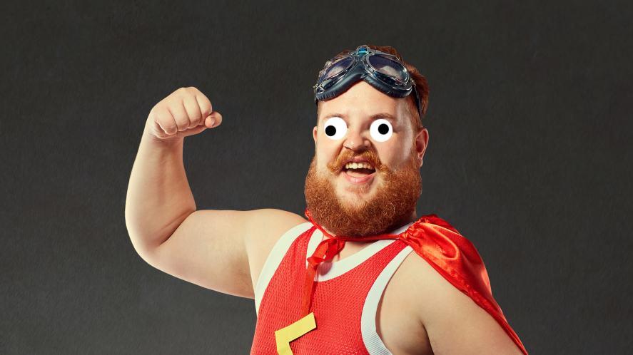 A superhero with a big ginger beard