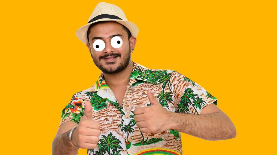 A man wearing a Hawaiian shirt and hat