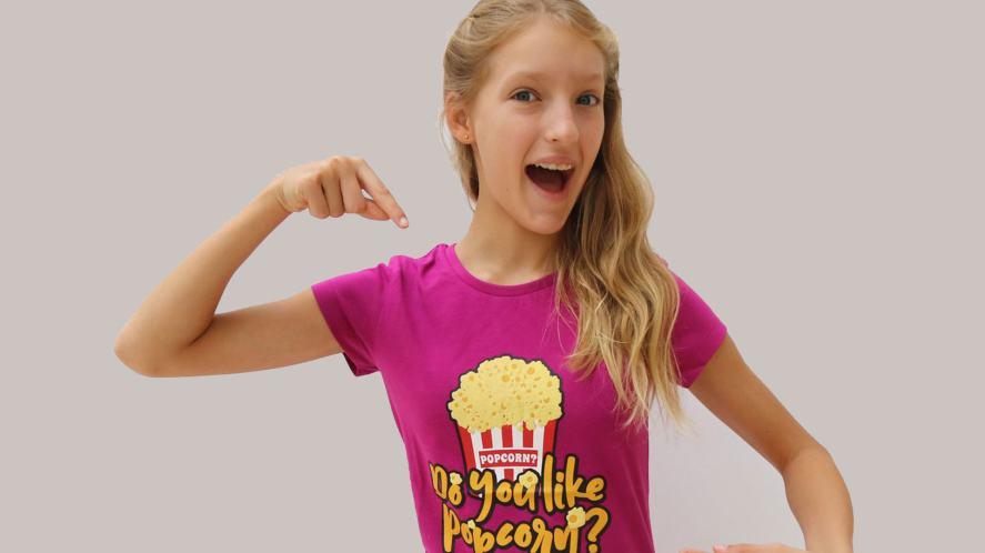 Karina in her popcorn t-shirt