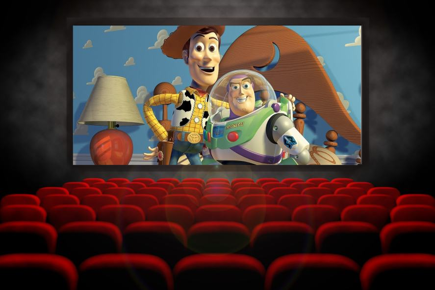 A cinema with Toy Story on the screen