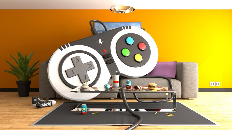 A massive game controller takes over a living room