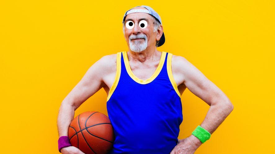 An elderly basketball player
