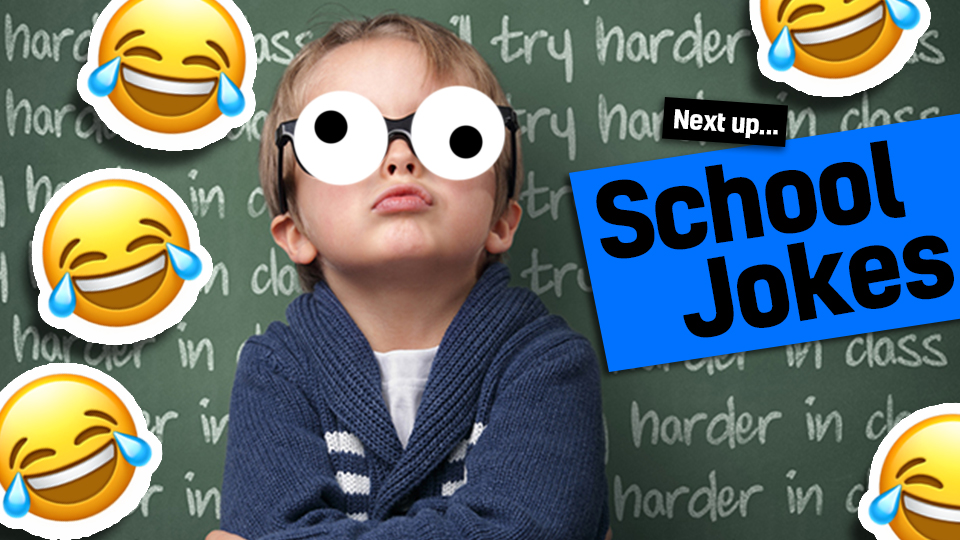 A boy in front of a blackboard with laughing face emojies and the words funny school jokes - link from maths jokes