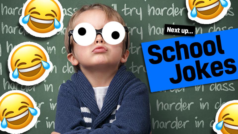 Child in front of blackboard - link from science jokes to school jokes
