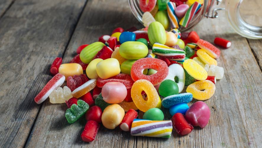 A spilled jar of sweets