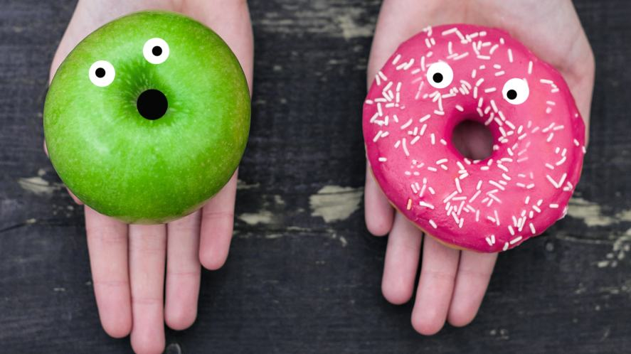 An apple and a donut
