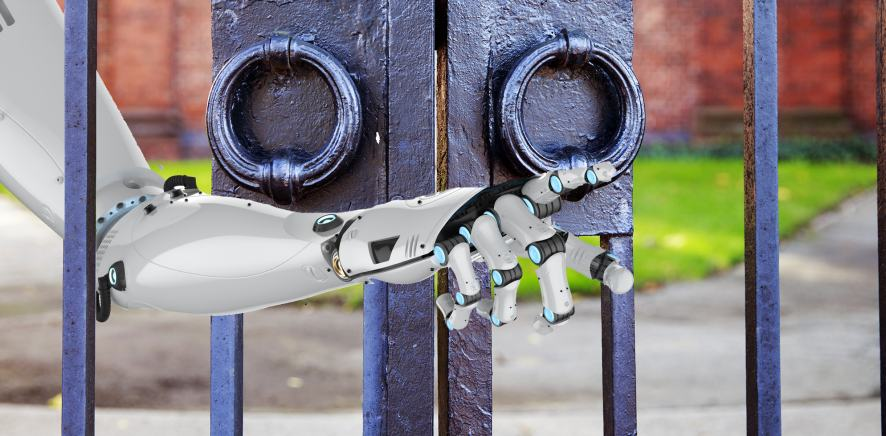 A robot opening the school gates