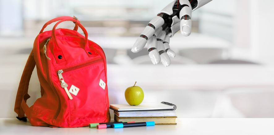 A robot reaches for a student's bag and apple